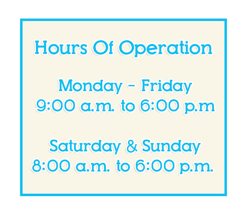 Hours of Operation 2015